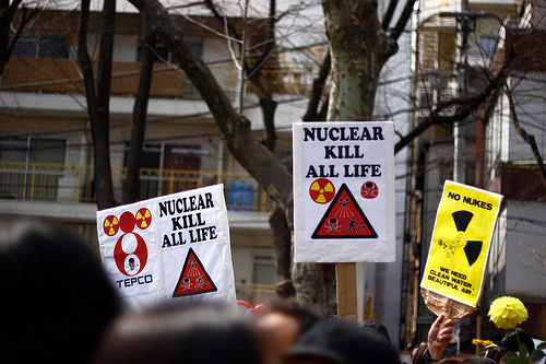 Nuclear energy protests in the immediate wake of the Fukushima Nuclear crisis in Japan (Credit: SandoCap / flickr.)